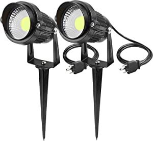 Lemonbest Outdoor Landscape Lighting Plug in 5W COB LED Garden Wall Yard Path Spot Light w/Spiked Stand, Pack of 2 Cool White with AC Power Plug