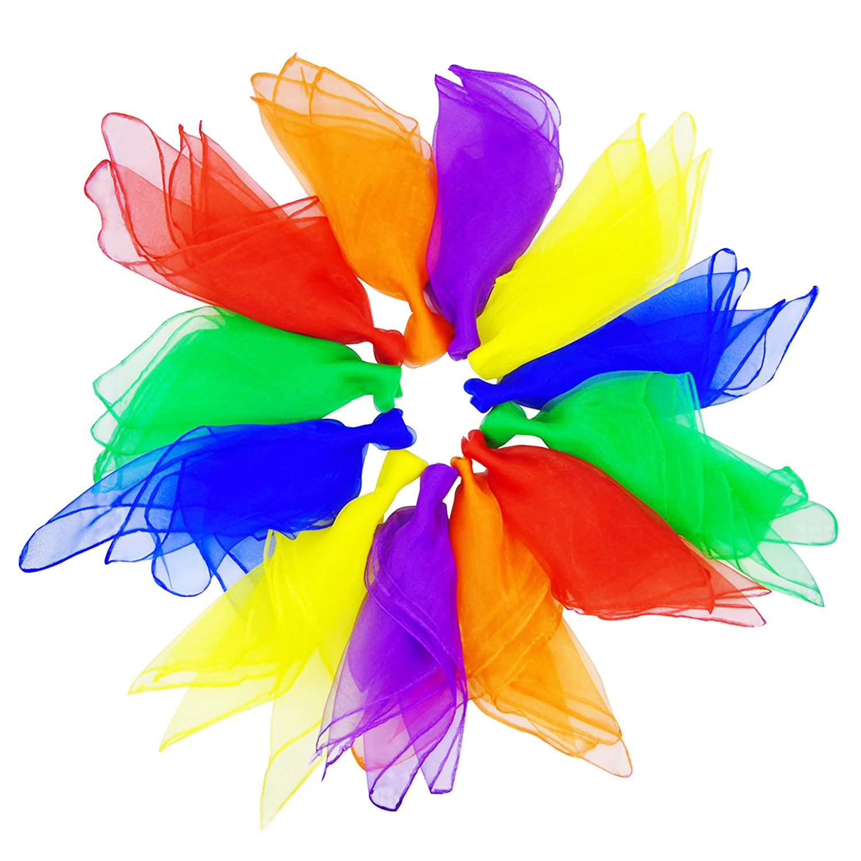 24pcs Square Juggling Silk Dance Scarves, Grosun Magic Tricks Performance Props Accessories Movement Scarves