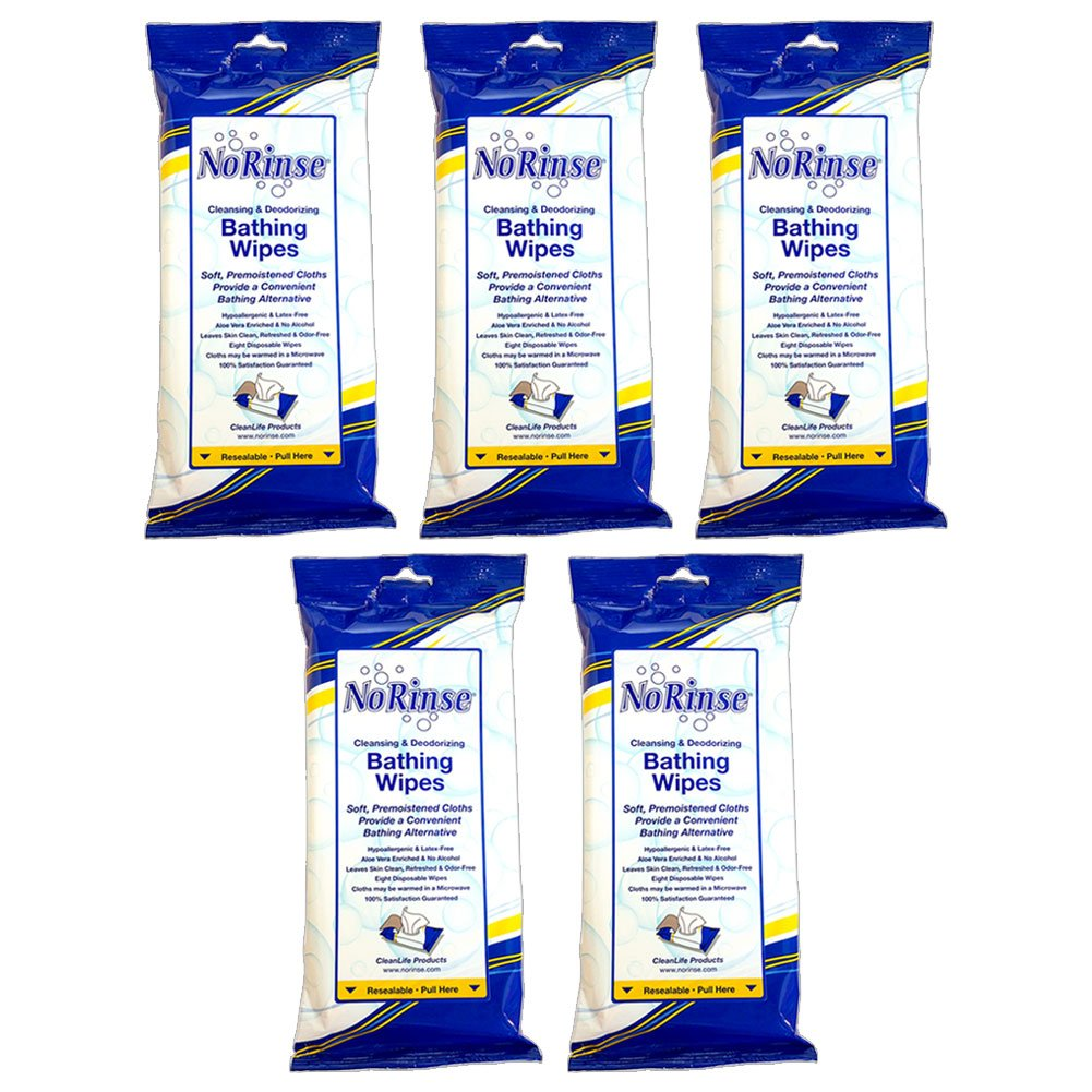 (Set/5) No Rinse Body Wipes Packs - Caregiver Bathing Cloths 40 Wipes Total