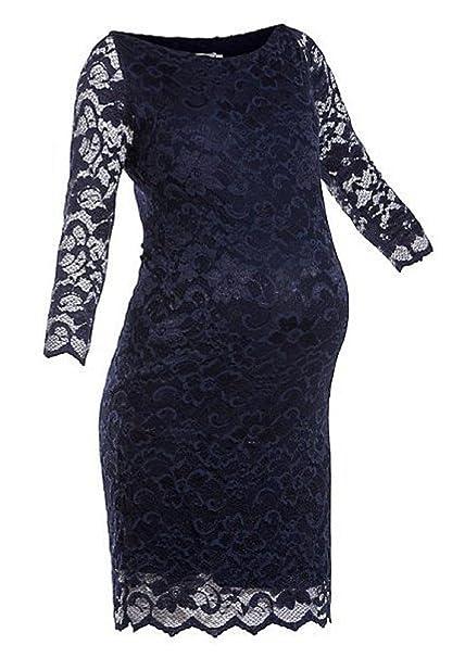 Para mujer maternidad embarazo (azul marino azul Slash cuello elástica de encaje bodycon vestido Azul
