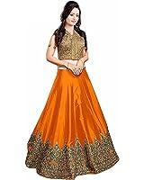 Lengha Choli for women new arrival western party wear semistitched Orange lehenga choli by Woman style