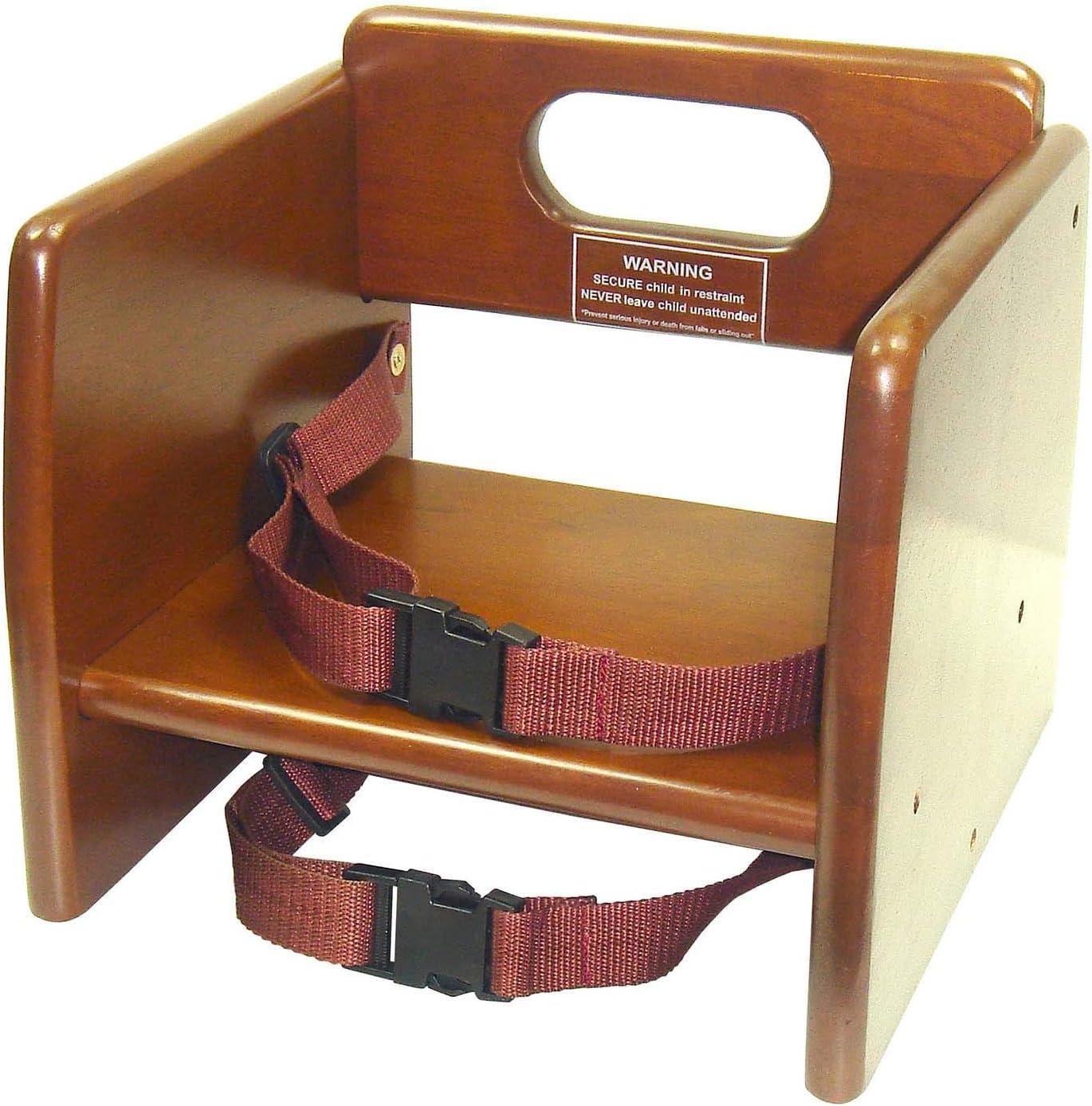 Winco CHB-704 Wooden Booster Seat Medium Brown Walnut