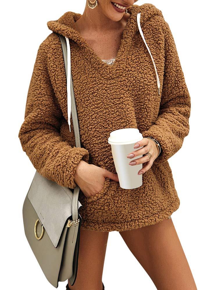 Leepus Women Solid Faux Fur Sweatshirt Shaggy V Hooded Drawstring Nekline Pocket Long Sleeve Loose Casual Pullovers Khaki by Leepus