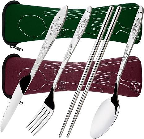 8 piezas Mostrada Conjuntos De Cuchillo, Tenedor, Cuchara, Palillos, SENHAI 2 Pack de vajilla con estuche e para viajar Camping Picnic Excursionismo(rojo marrón, verde oscuro): Amazon.es: Deportes y aire libre
