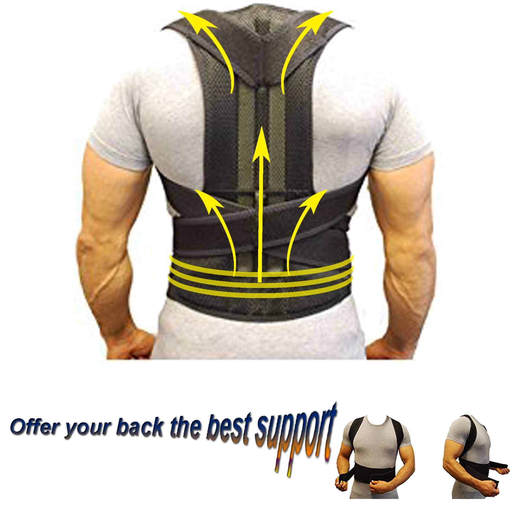 Back Support Posture Corrector Belt Unisex- Protect Back for Old and Young- Improve Posture Relieve Pain- Adjustable Black