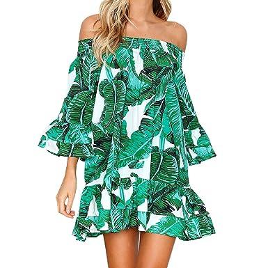 2fd16dc44f3b Wintialy Women Sexy Leaves Printing Off Shoulder Half Sleeve Dress Princess Dress  Green