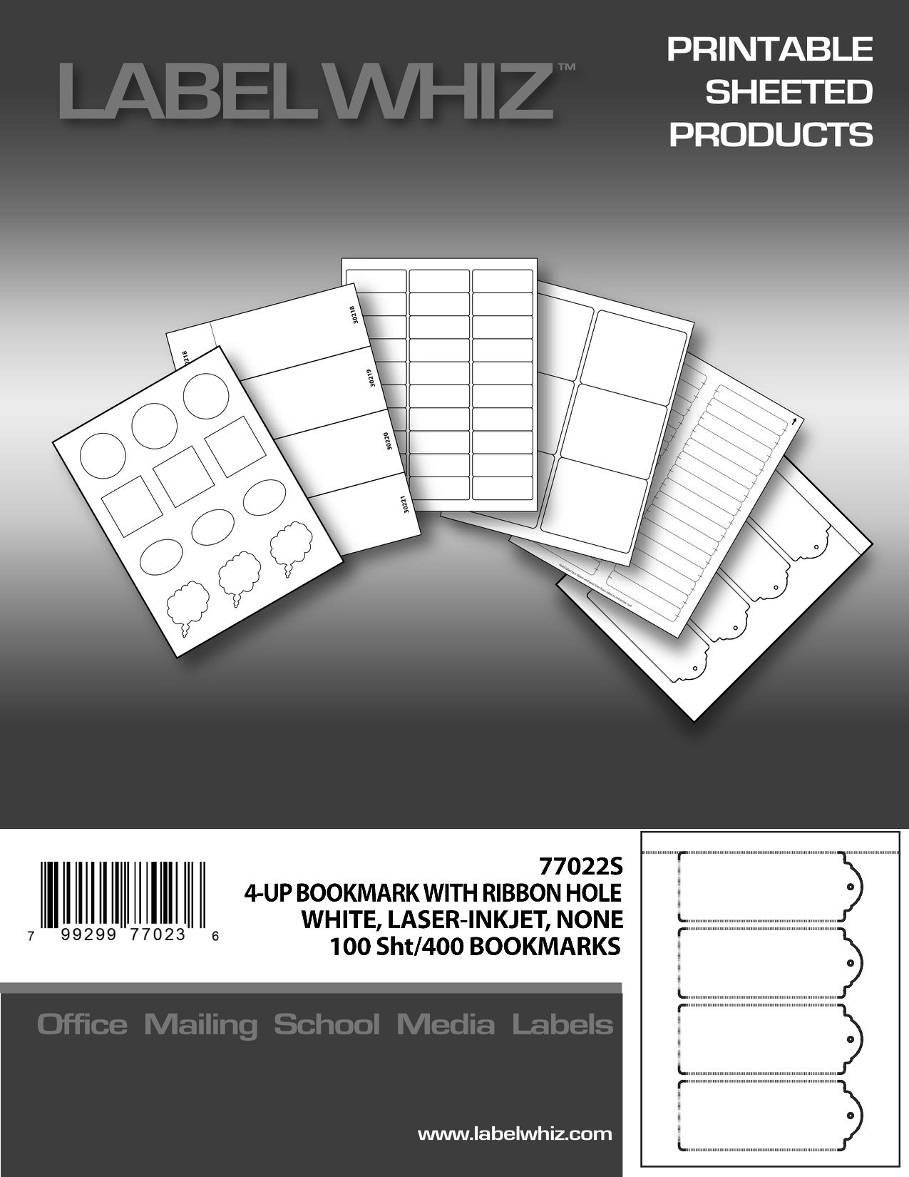 Adhesive Label Blank Printable Bookmark Sheets, 2-1/4 x 6 Inches, 4 per Sheet, 100 Sheets, White (77022S)