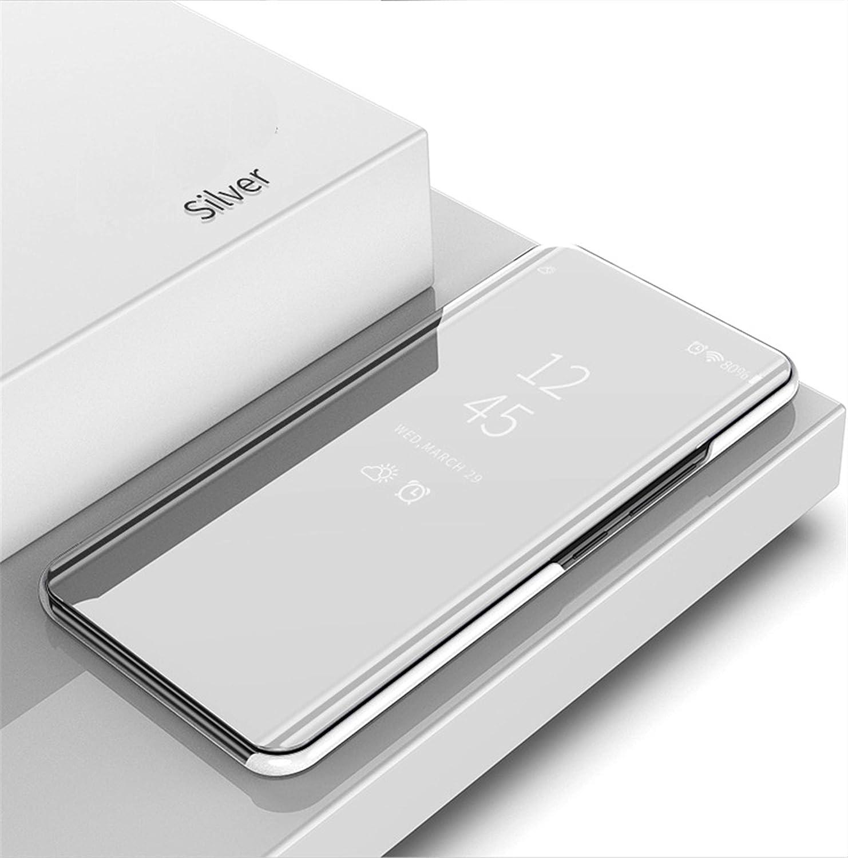 MLOTECH Funda para Huawei P Smart 2019,Funda Case Cristal Templado Flip Clear View Transl/úcido Espejo Standing Cover Slim Fit Anti-Shock Anti-Rasgu/ño Mirror 360/°Protectora Cubierta Plata