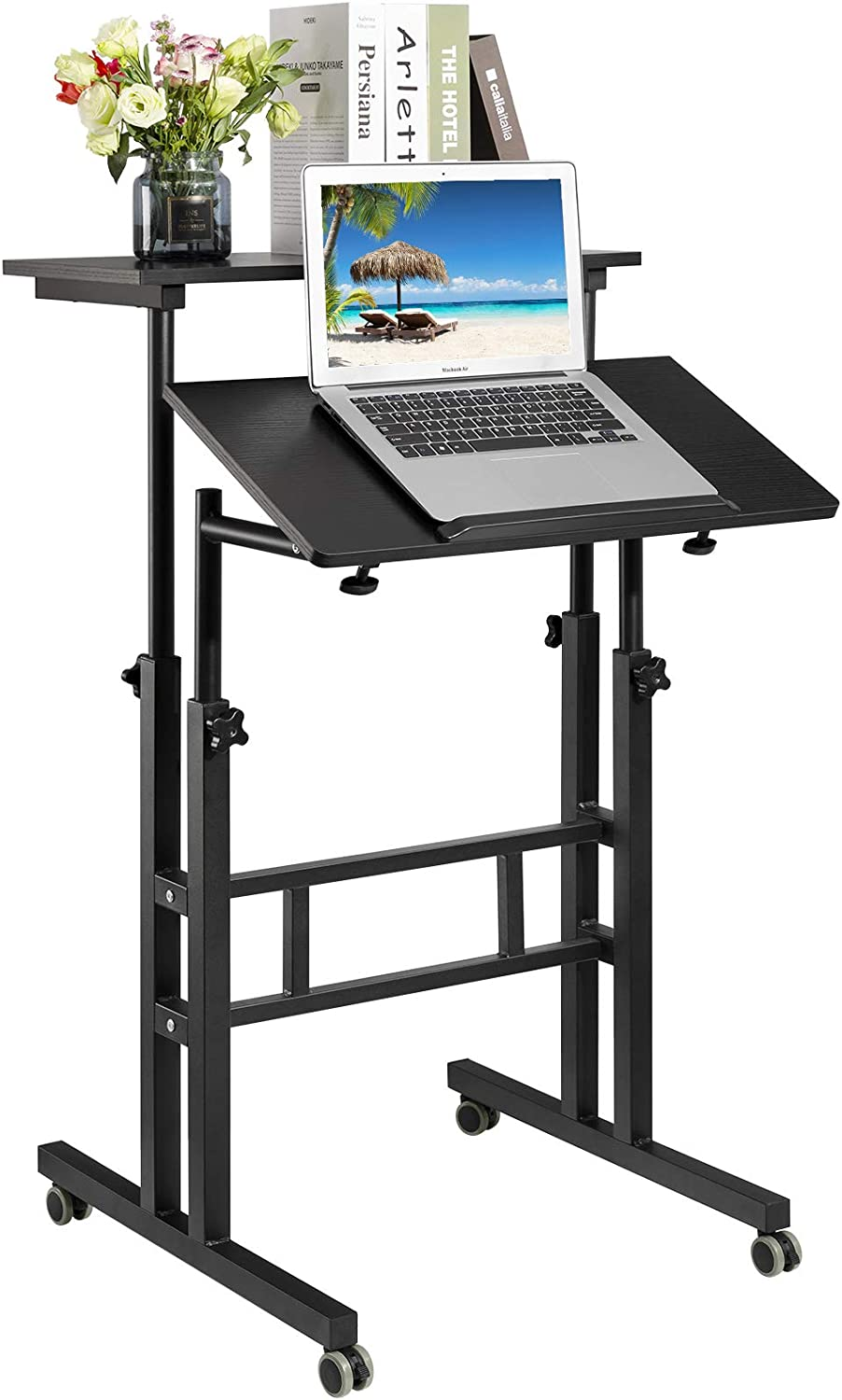 Hadulcet Mobile Standing Desk, Adjustable Standing Computer Desk, Standing Adjustable Laptop Cart with Wheels for Home Office Classroom, 23.62 x 23.6 in, Black