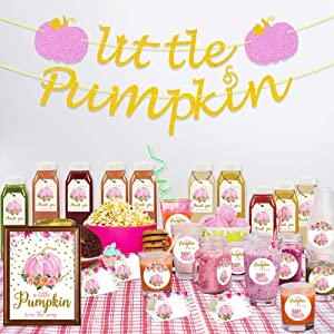 K KUMEED Little Pumpkin Baby Shower Decoration Kit, Little Pumpkin Banner, Welcome Sign, Tent Cards, Pumpkin Stickers, Pumpkin Favor Tags With String for Thanksgiving Floral Fall Autumn Decorations