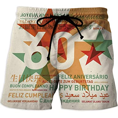 IPrint Mens Boardshorts Swim Trunks Quick Dry Shorts 60th Birthday