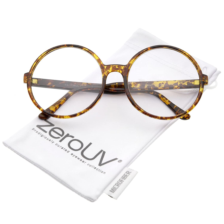 72a28e451 Amazon.com: Retro Oversize Clear Lens Round Spectacles Eyewear Glasses 60mm  (Orange-Tortoise/Clear): Clothing