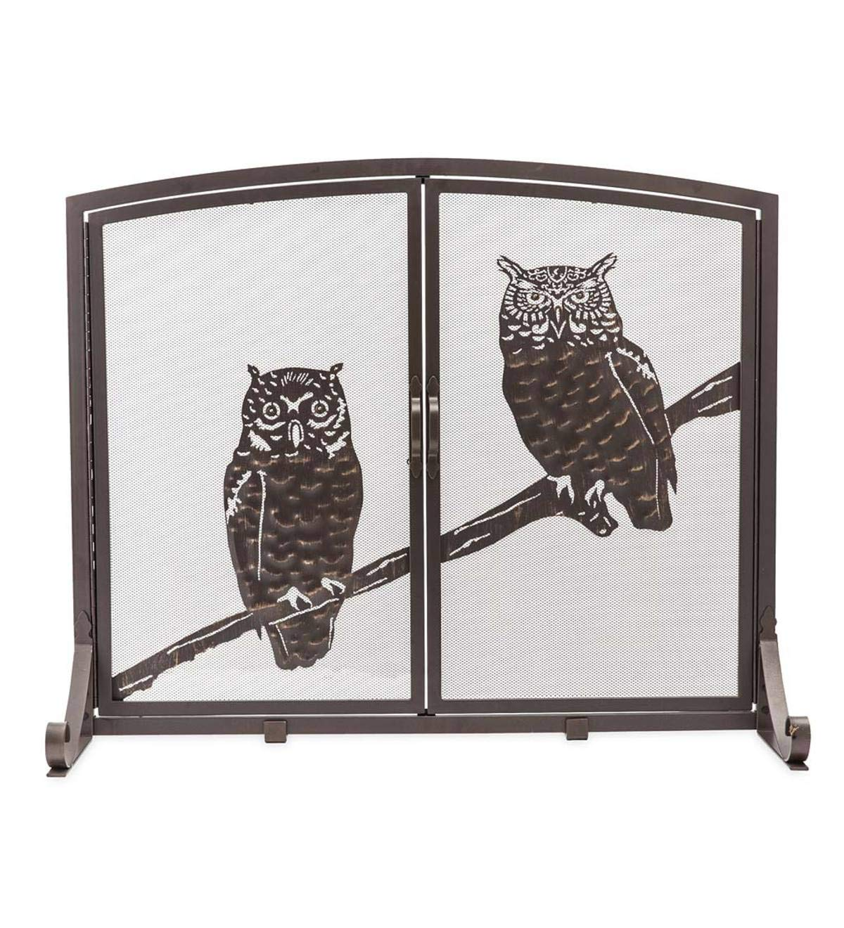 Plow & Hearth Small Owls Fireplace Screen with Two Doors - 38''W x 11.5''D x 31''H