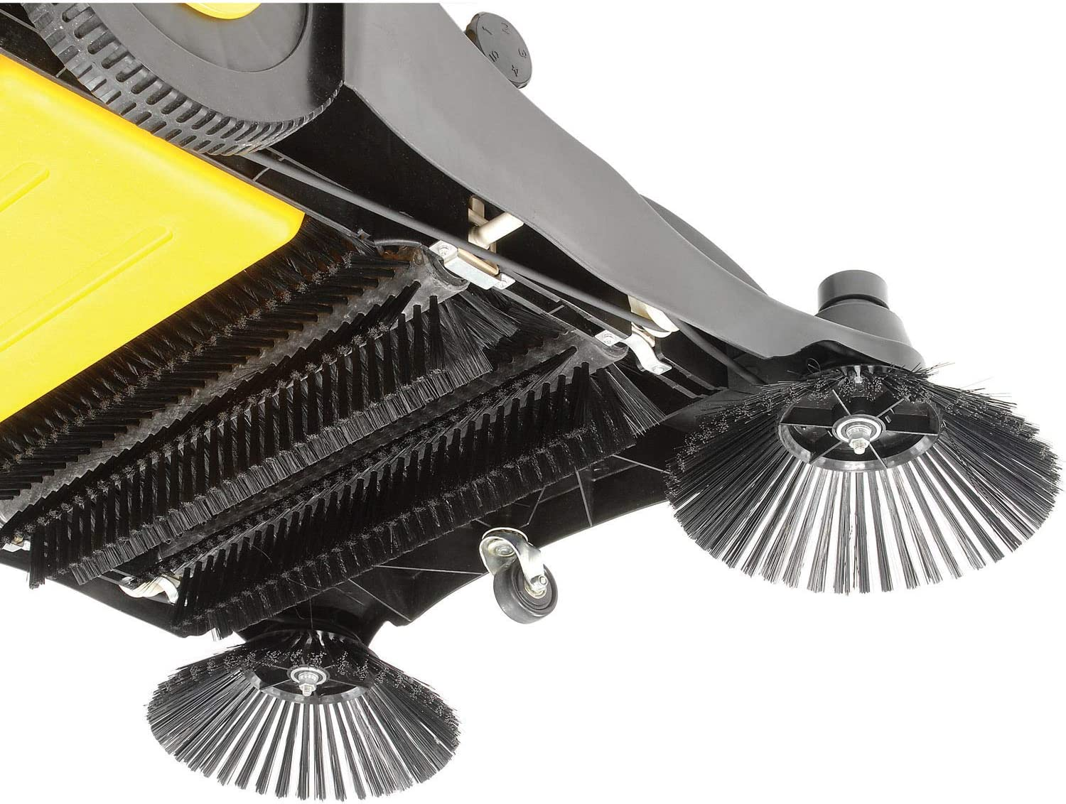 Industrial Push Sweeper 32 Cleaning Width Black and Yellow