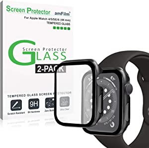 amFilm Case with Built-in Tempered Glass Screen Protector Compatible with Apple Watch Series 6/SE/5/4 (44mm), 2 Pack