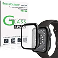 amFilm (2 Pack) Case and Screen Protector for Apple Watch Series 6 (44mm) - Protective Cover and Tempered Glass Film…