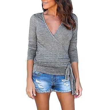 Ningsanjin Col Shirt Coton Haut Top V Tee T Femme pSMzUVq