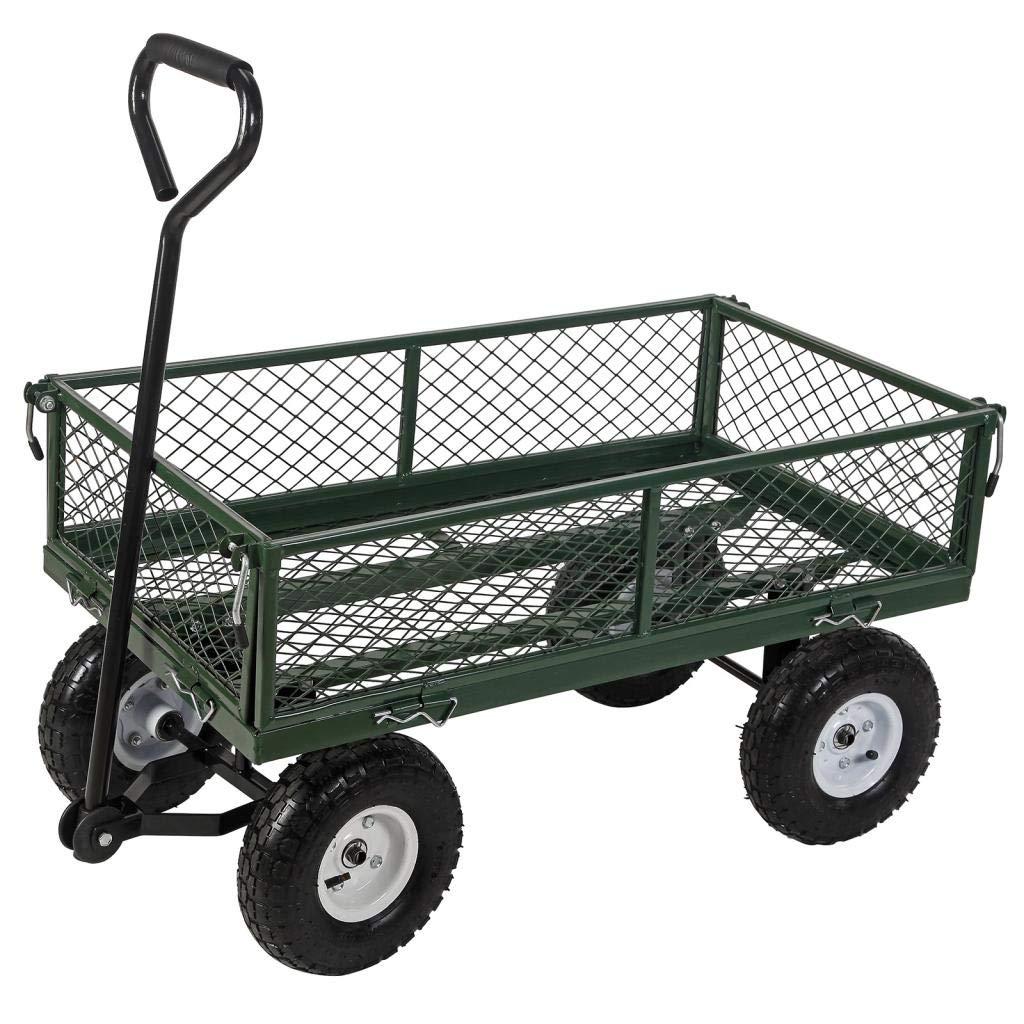 Superworthboutique Heavy Duty Steel Garden Cart Utility Wagon Dump With Removable Sides Lawn Trailer Yard 660Lbs Capacity Green