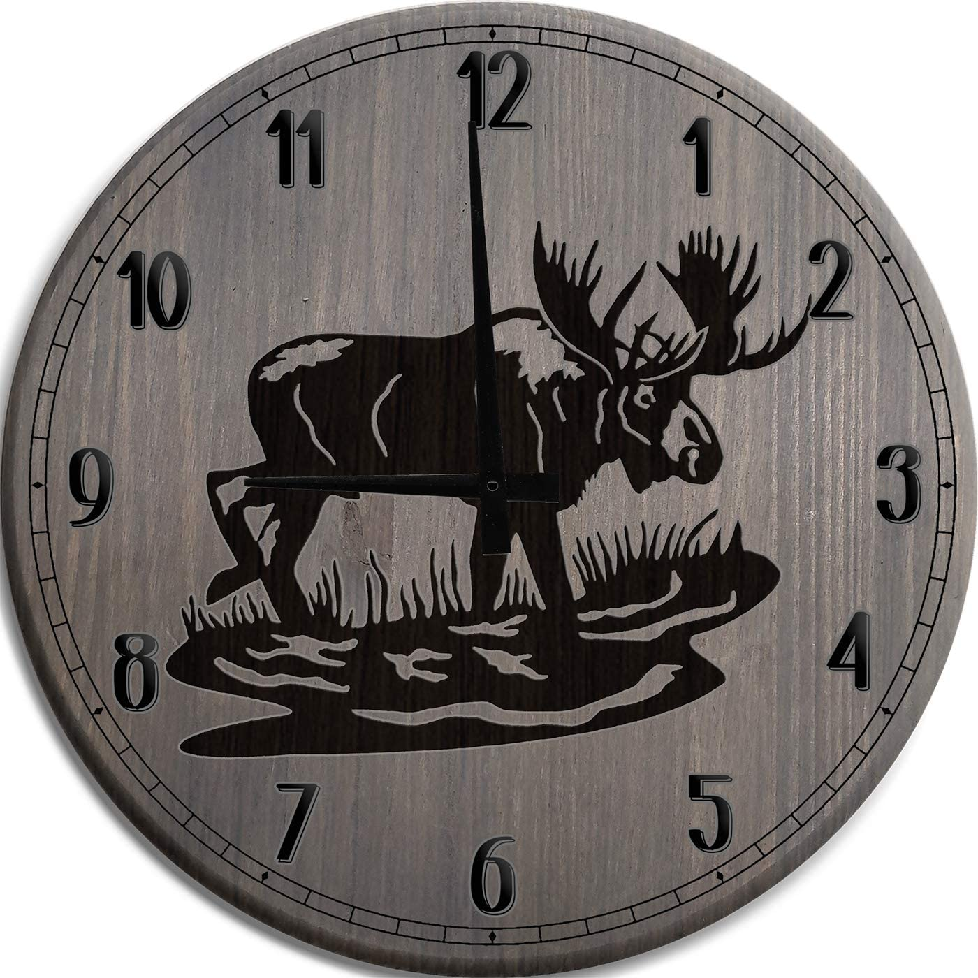 Amazon Com Tba Wall Clock Large Moose Elk Big Game Hunting Clock Man Cave Wall Decor Barnwood Gray 18 Inch Wall Decor Home Kitchen