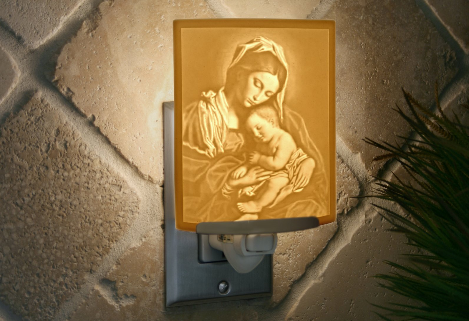 Madonna & Child - Mother Mary Curved Porcelain Lithophane Night by The Porcelain Garden (Image #3)