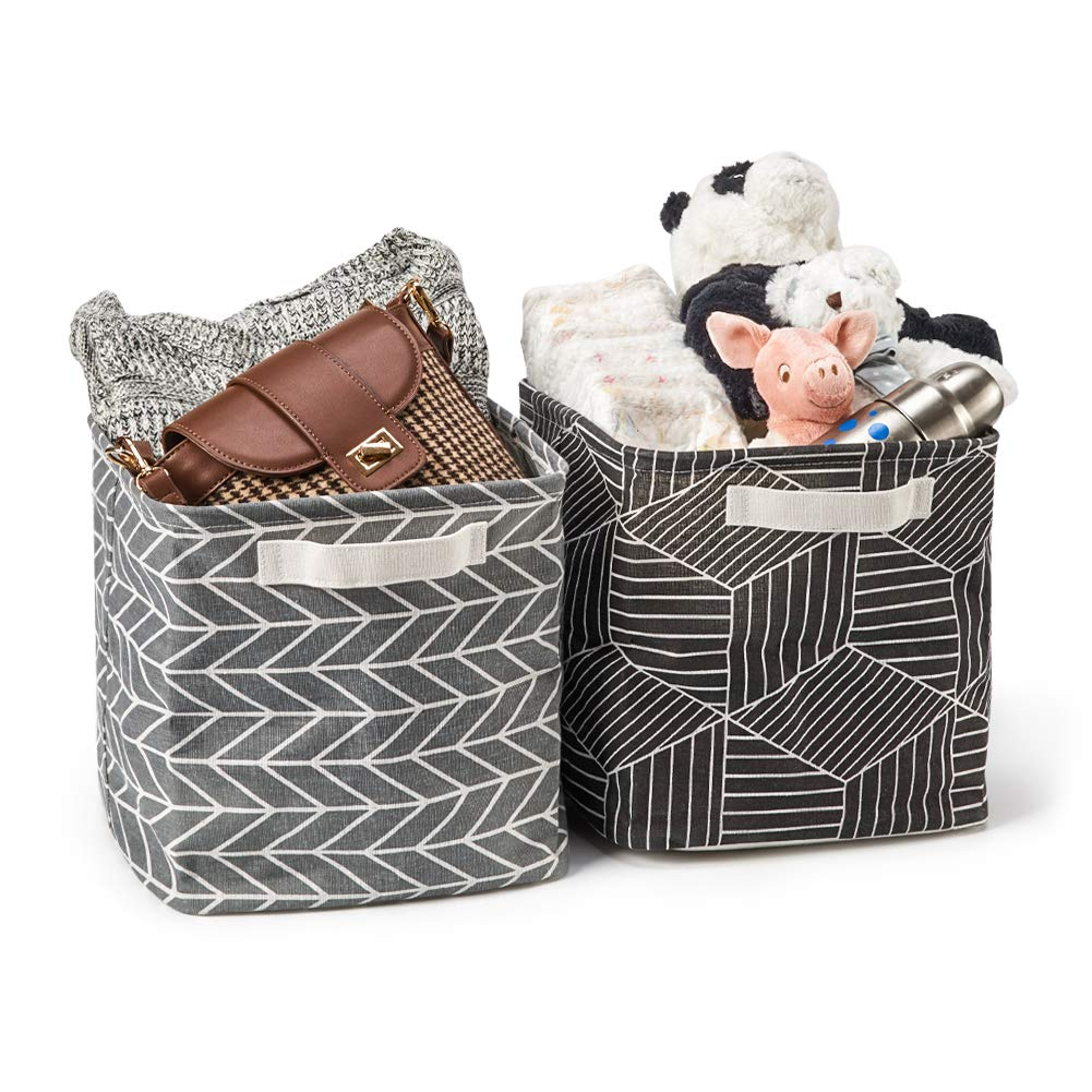 Collapsible Fabric Shelf Box Organizer with Handles for Bathroom EZOWare 6 Pcs Cube Storage Bin Baskets Shelves Nursery Multi Home and Office 10.5 x 10.5 x 10.5 inch