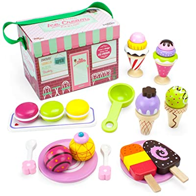 Imagination Generation Wood Eats! Wooden Play Food Traveling Ice Cream Parlor Playset with Popsicles, Ice Cream Sandwiches, and Sundaes (25pcs): Toys & Games