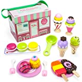 Imagination Generation Wood Eats! Wooden Play Food Traveling Ice Cream Parlor Playset with Popsicles, Ice Cream Sandwiches, and Sundaes (25pcs.) by