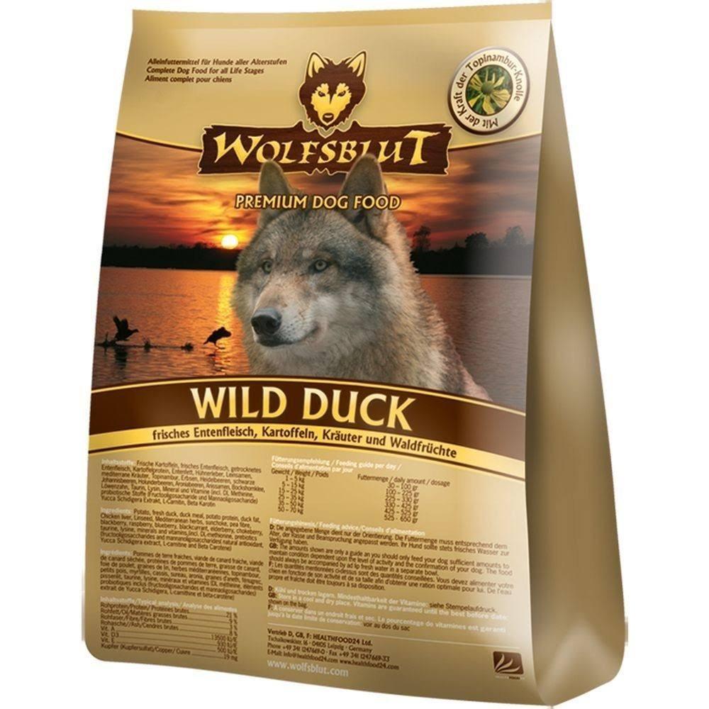WOLFSBLUT croquettes de canard sauvage + pommes de terre pour chiens adultes 15, 0 kg