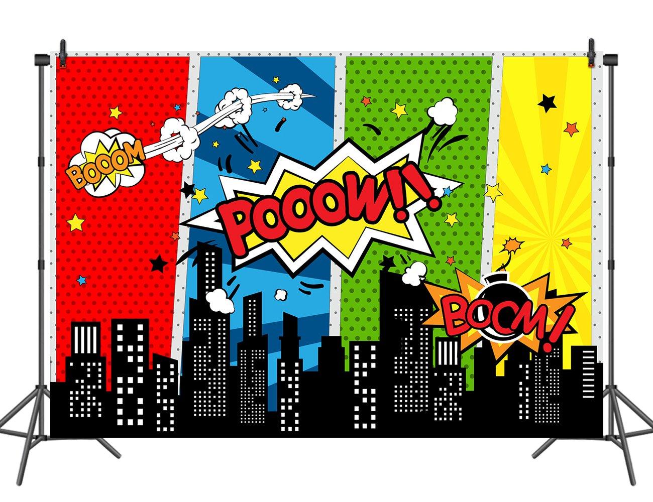 sensfun Super Hero CITYビニールバックドロップ画像子供フォトスタジオ小道具誕生日パーティー装飾用写真背景7 x 5 ft 10'x6.5ft  B07FP271J2