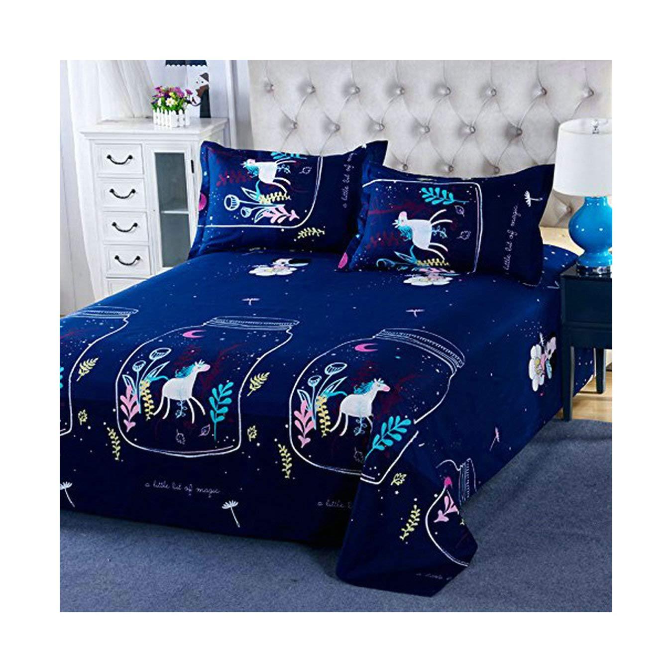 KFZ Bedding Duvet Cover Set Flat Sheet Pillowcases 4pcs/Set No Comforter SM Twin Full Queen King Cowboy Puppy Unicorn Star Dream Rabbit Luck Dog Design (Cowboy Puppy,Blue, Twin, 58x79, 3pcs) 58x79