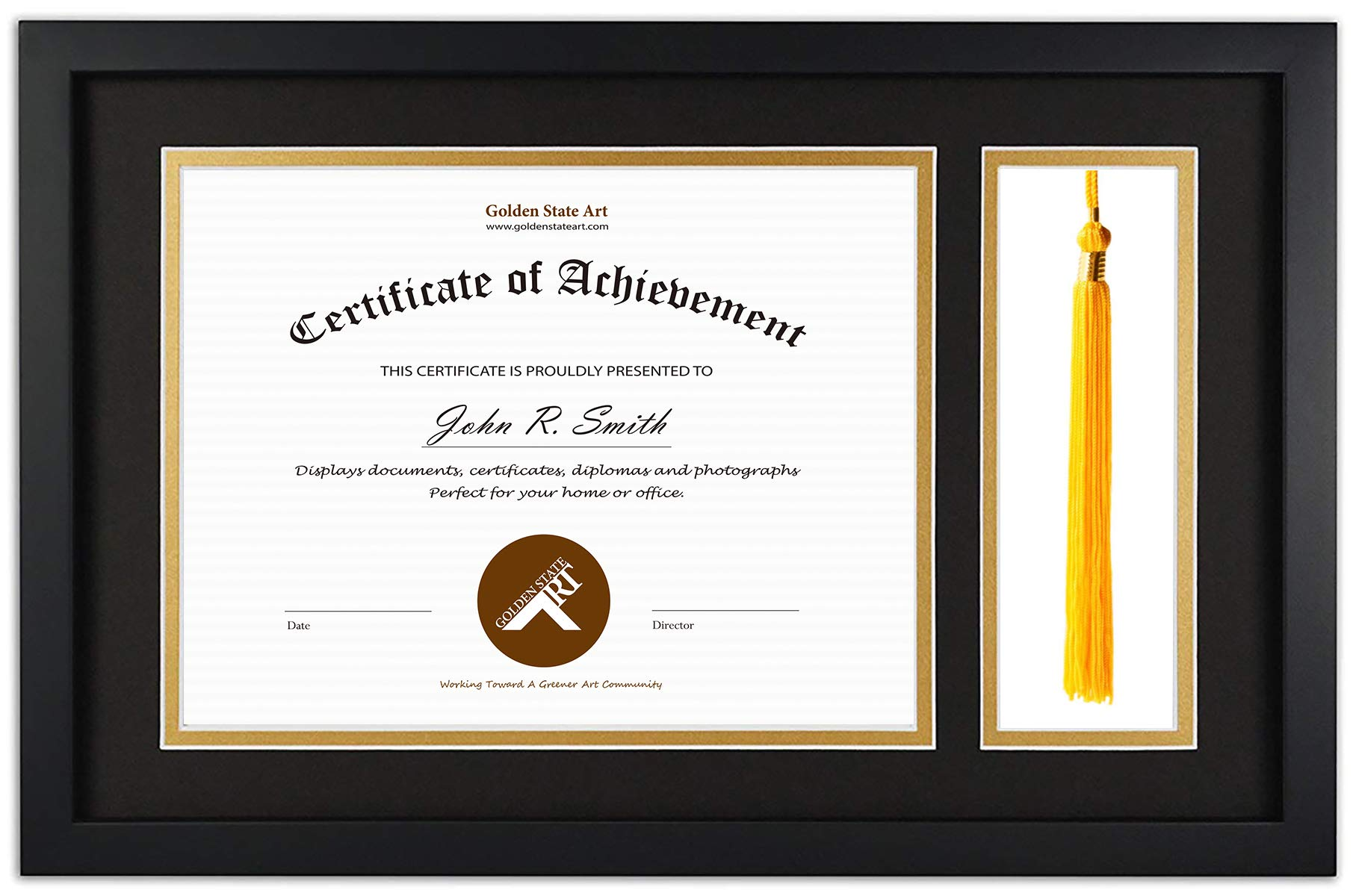 Golden State Art, Diploma Tassel Shadow Box 11x17.5 Frame for 8.5x11 Document/Certificate, with Double Mat (Black Over Gold), Tassel Holder & Real Glass, Black by Golden State Art