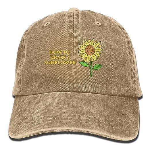 57ec951a44e35 Unisex Baseball Cap Hat How to Draw A Sunflower Vintage Denim ...