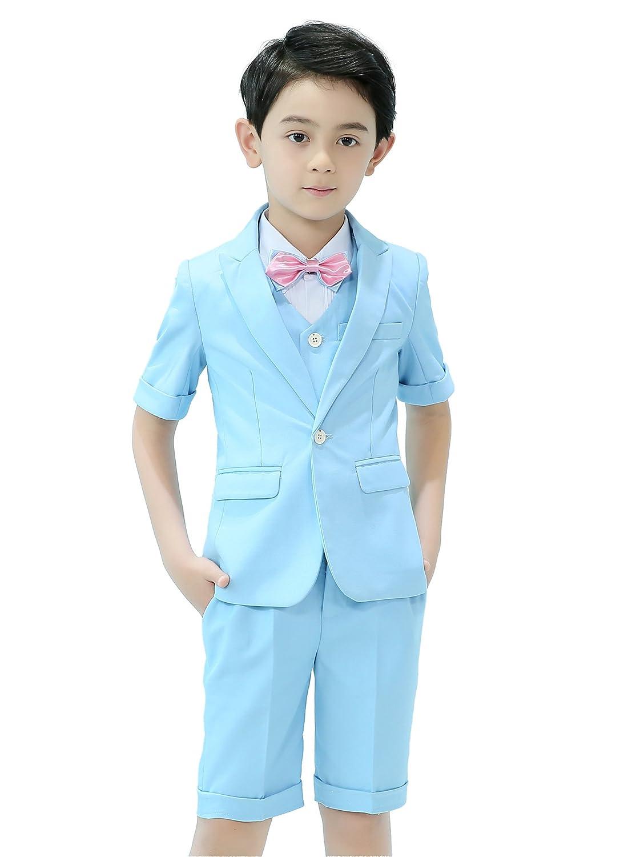 Iyan Boys Short Suits 5 Piece Slim Fit Suit for Boys CA-Short5P