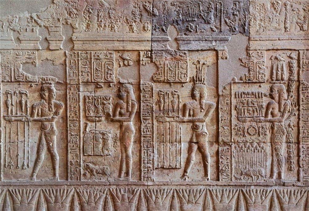 SZZWY 7x5FT Vinyl Backdrop Photography Background Egypt Mural Ancient Exterior Wall Stone Hieroglyphic Carvings Egyptian Pharaoh Portrait Art Shooting Background Photo Studio Props