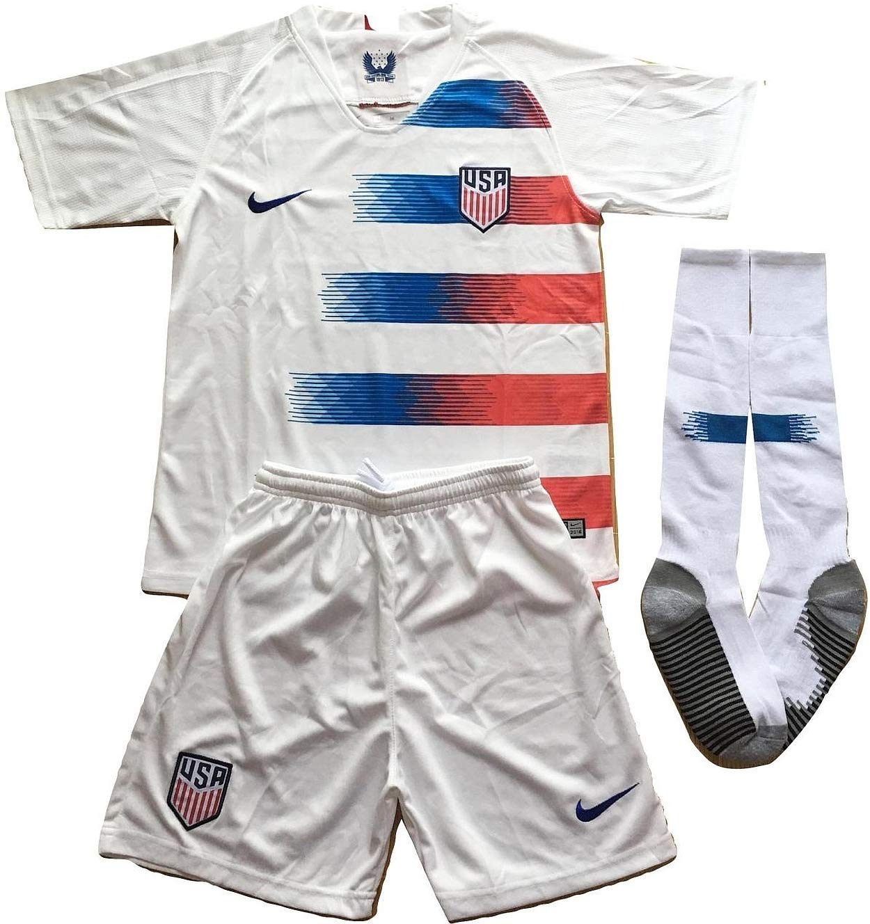 MilkaGGT USA National Team 2018-2019 Youths Home Soccer Jersey & Socks Set (7-8 Years Old)