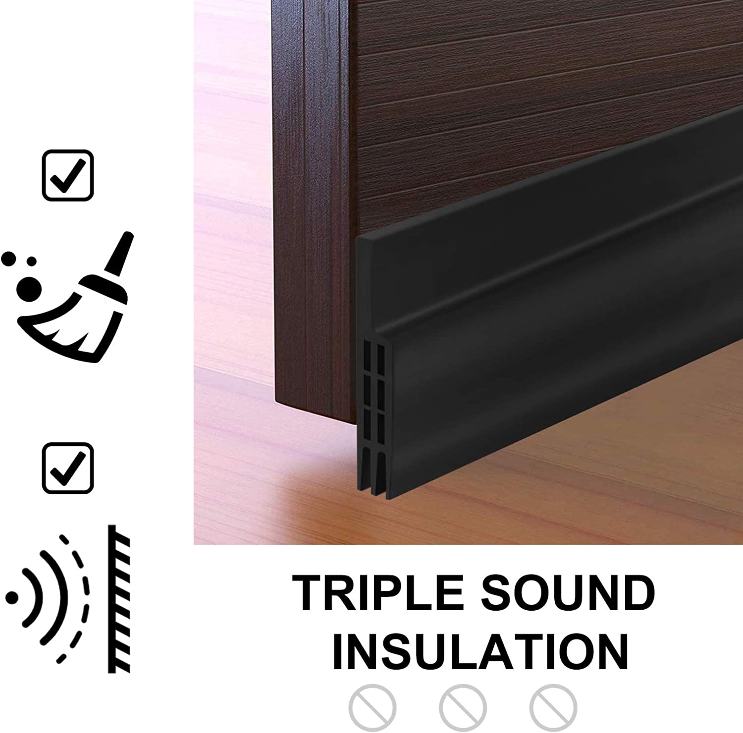 33Ft Long Insulation Weatherproof Doors and Windows Soundproofing Seal Strip with Adhesion Promoter Collision Avoidance Rubber Self-Adhesive Weatherstrip 2 Pack White 2PCS
