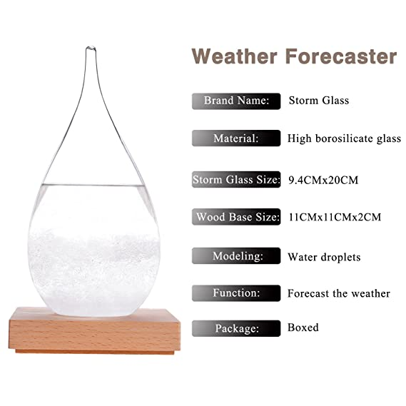 (Large) - WELLDONE Creative Fashion Desktop Water Drop Storm Glass, Weather Forecast Bottle, 17th Century Europe Weather Monitor Weather Forecast Weather ...