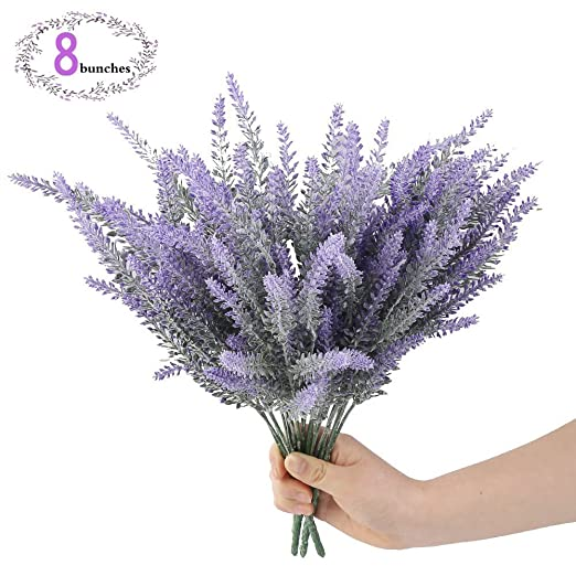 8 Bundle Artificial Flowers Purple Lavender Bouquet for Wedding Decorations and Home Decor Faux By AusKit