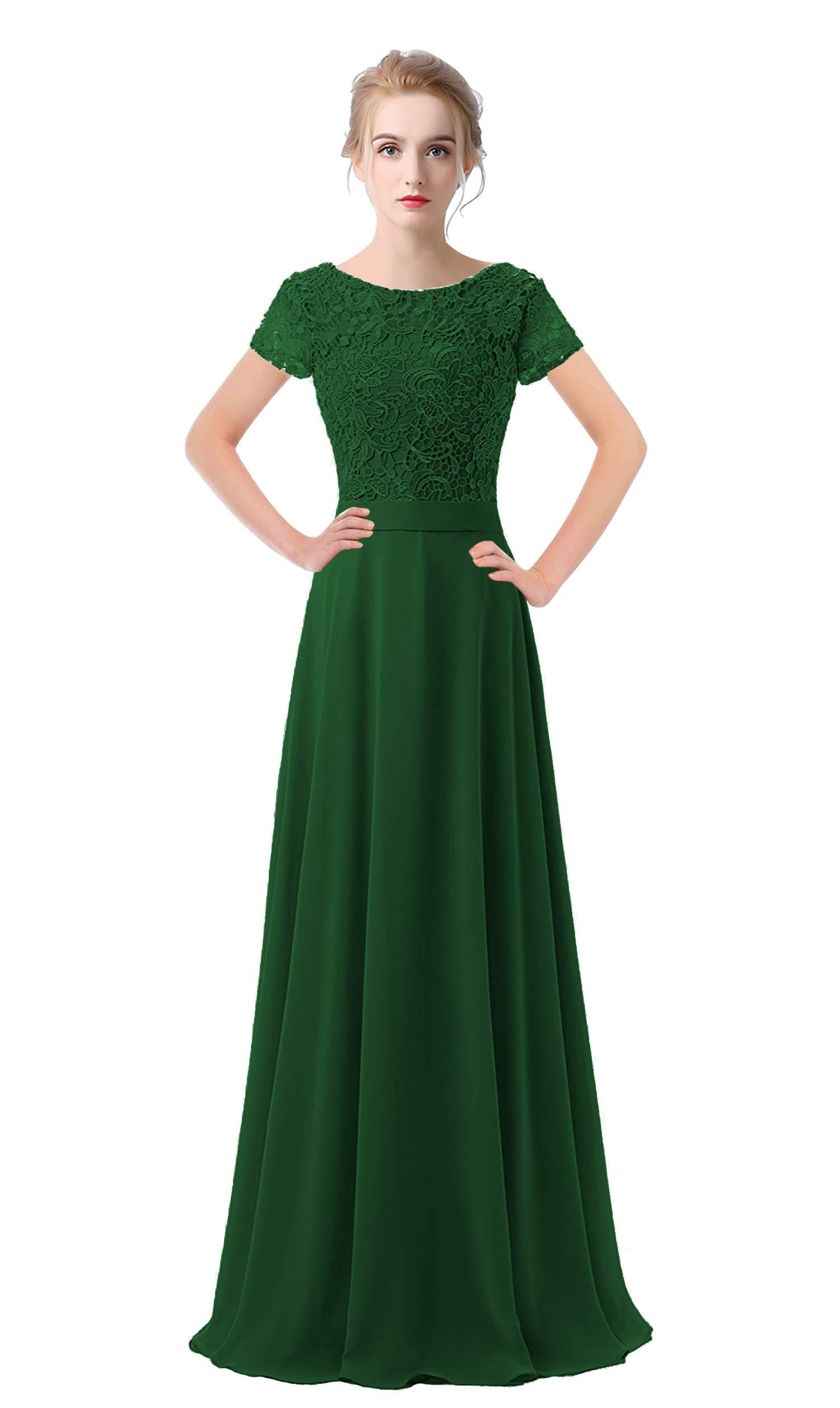 25a029dc25c1 VaniaDress Women Lace Short Sleeves Long Evening Dress Prom Gown V061LF  Dark Green US8