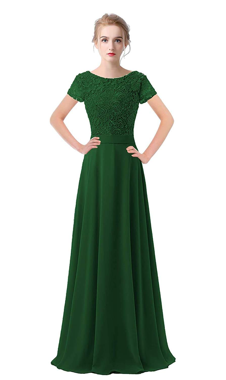 Dark Green VaniaDress Women Lace Short Sleeves Long Evening Dress Prom Gown V061LF