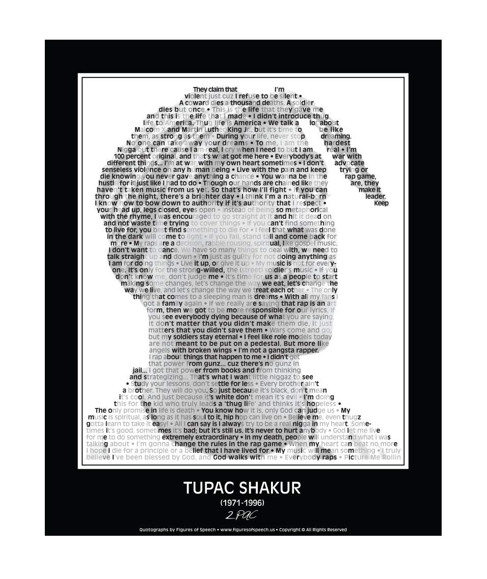 """Inspirational 2pac/Tupac Quotes Poster. 2pac/Tupac Print made from Tupac quotes! Tupac Wall Art. Home Decor. Print. 24""""x 30"""" (unframed)"""