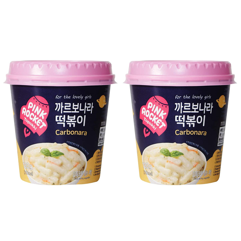 [Pink Rocket] Instant Topokki Tteokbokki Rice Cake Popular Korean Food Snack Various Flavors 떡볶이 (Carbonara, 120g 2 Cups (2 Servings))