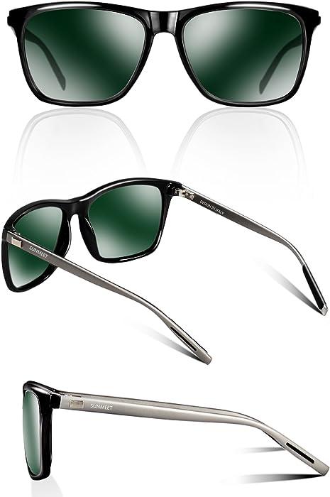 b9aac34c0771 SUNMEET Sonnenbrille Herren Polarisierte für Männer Jahrgang Retro  Sonnenbrille Herren Unisex UV400 S1001(Grün