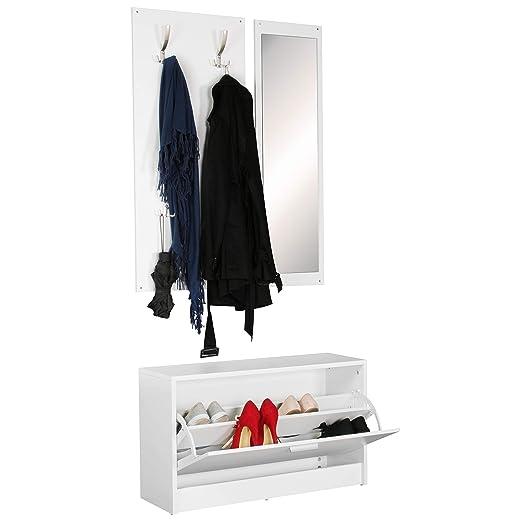 Finebuy Wand Garderobe Jan Mit Garderobenpaneel Spiegel