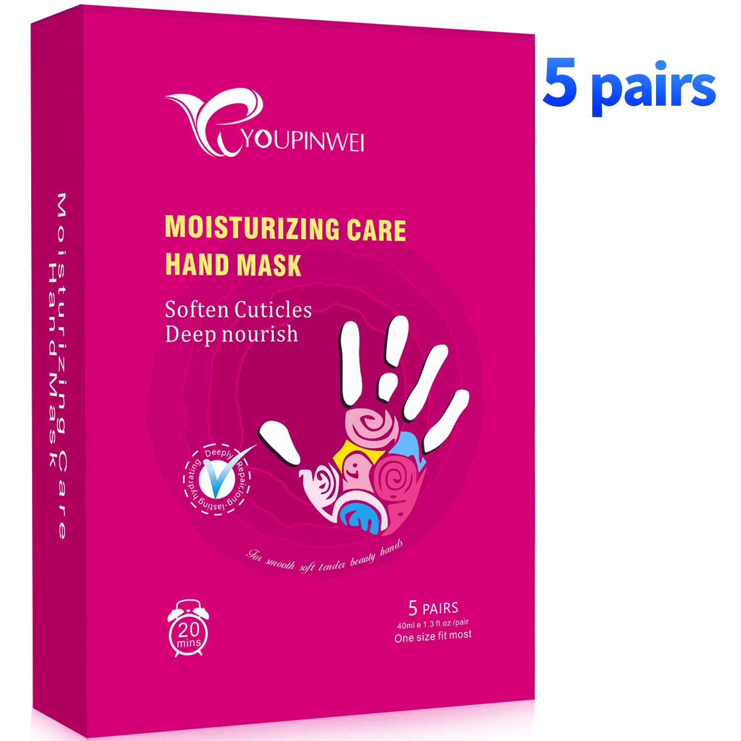 YOUPINWEI Moisturizing Foot Mask Treatment for Cracked Heels and Dry Feet Deeply Repair, Care for Long-lasting Hydrating & Nourishing Socks for Smoother and Softer Feet (5Pairs/Box) Ltd
