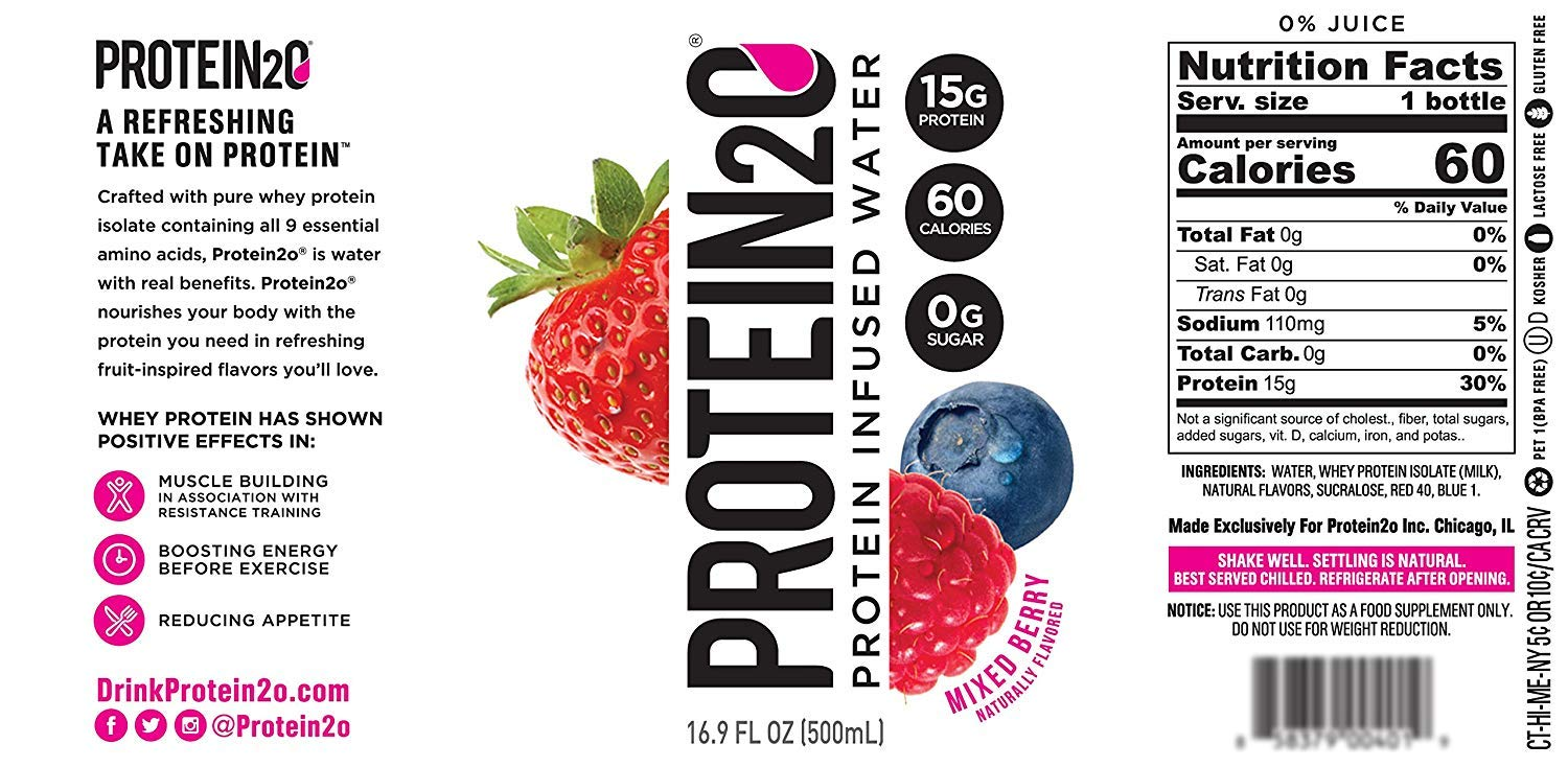 Protein2o Low-Calorie Protein Infused Water, 15g Whey Protein Isolate, Mixed Berry (16.9 Ounce, Pack of 27) (Mixed Berry (27 Pack))