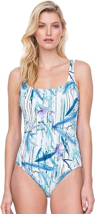 Gottex Samosir Square Neck One Piece Swimsuit Size 18 Blue