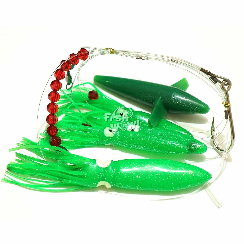 Fish WOW Fishing Daisy Bird Chain Squid Lure Rig Teaser Trolling - Green   B01LZAQBFW