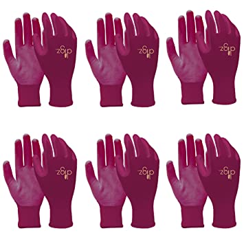 Digz 6 Pairs Of Women Nitrile Coated Gardening Gloves Ladies Yard Lawn Work  Stretch