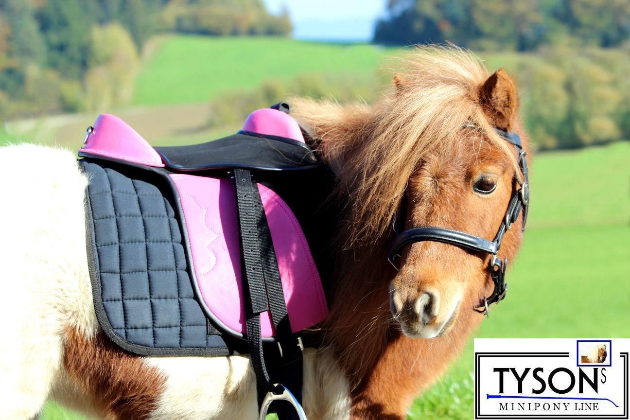 Ponysattel Sattel Minishetty Shetty Mini Pony Pink Schwarz oder Blau 10 12 Zoll incl Zubehör Sattelset SET Tysons auch f. Holzpferd geeignet